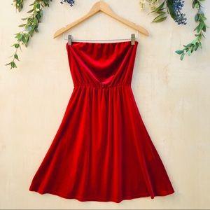 Zara Red Velvet Strapless Dress